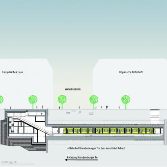 """Schnitt des U-Bahnhofes """"Brandenburger Tor"""" (Quelle: BVG-Prospekt """"Bauen mit Perspektive"""")"""